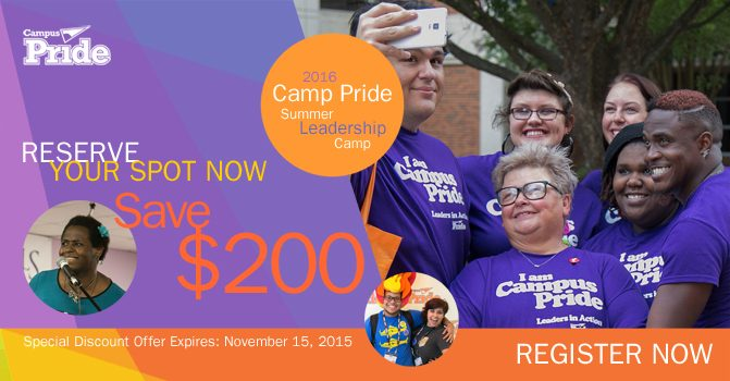LOWEST PRICE: Save $200 Camp Pride 2016 Special Discount until Nov 15