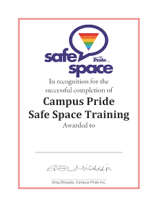 Creating Safe Space For Students After >> Online Safe Space Training Campus Pride