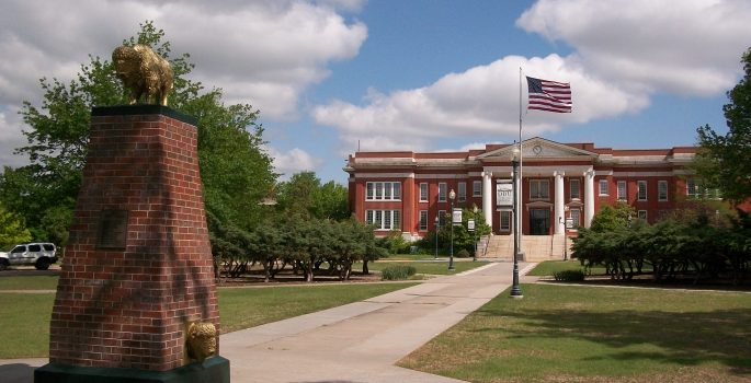 Oklahoma_Baptist_University_Campus_Oval_Bison_Monument_and_Shawnee_Hall