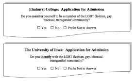"Figure 1. Identifying LGBT Applicants: Elmhurst College and the University of Iowa. Adapted from (a) ""Elmhurst College: Application for Admission,"" 2012, retrieved from http://media.elmhurst.edu/documents/Elmhurst_Application_2012.pdf ; and (b) ""University of Iowa Will Ask Applicants if They Identify with Gay Community,"" by E. Hoover, 2012, Chronicle of Higher Education, 59(17), p. 11."